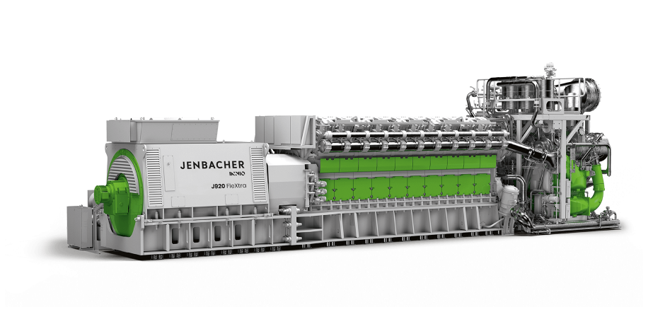 Front View of a Jenbacher J920 Flextra Gas Engine / branded